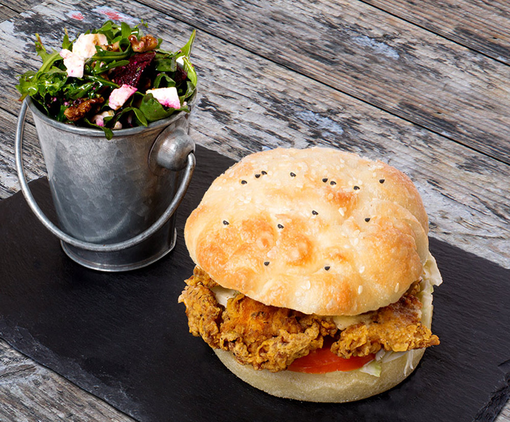 Turkish chicken Burger bucket salad