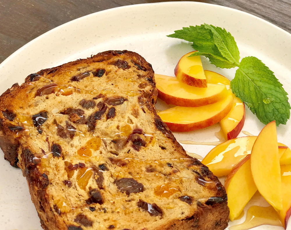 Chunky fruit loaf with peach honey